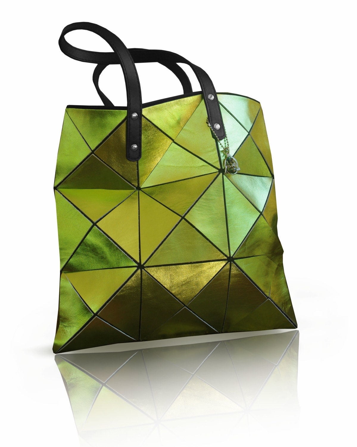 Metallic Lime Green Leather Bag Green Leather tote Leather