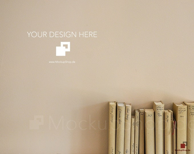 MOCKUP BACKGROUND BOOKS in beige, Background Mockup Books, Empty Mockup Background with books Stock Photography, scandinavian Style