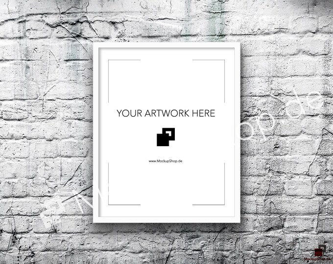 8x10 16x20 Vertical Digital WHITE FRAME MOCKUP, Styled Photography Poster Mockup, old White Brick Background, Framed Art, Instant Download