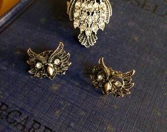 Owl Ring & Earrings