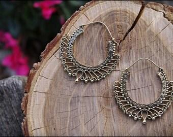 Bronze earrings. Brass hoop earrings ethnic style. Tribal jewelry