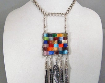 PATCHWORK FRAME NECKLACE with Earrings