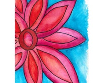 Pink and Blue Flower Print