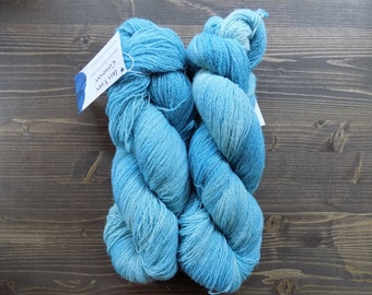 Hand Dyed Yarn, Lace Weight, Merino Wool / Suri Alpaca, Blue