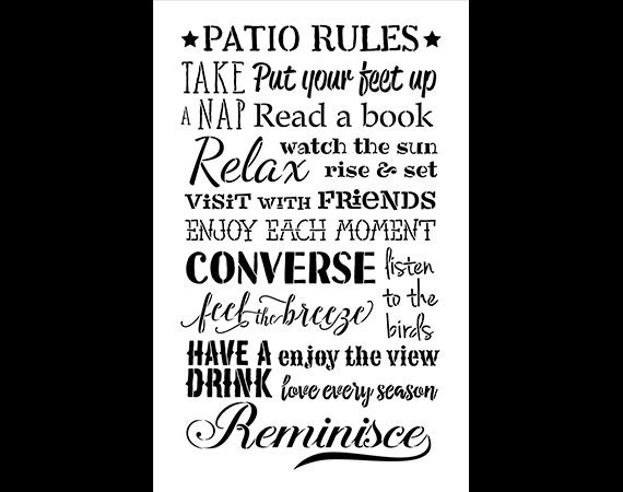 Patio Rules Word Stencil - Select Size - STCL1128 - by StudioR12