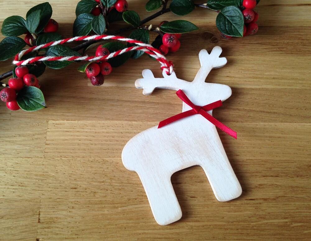 Wooden christmas decoration handmade reindeer by lottieandlois