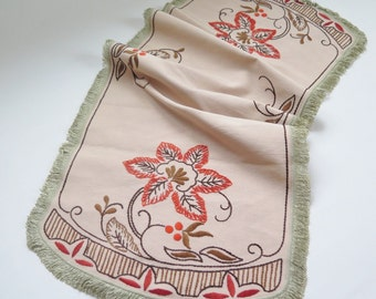 Vintage Embroidered Table Cloth Brown Orange Floral Vintage Embroidery, Vintage Handmade Home Decor, Fringed Table Cloth #2-19