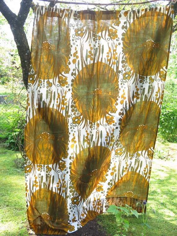 Long Curtains 92 inch long curtains : Set of 2 Vintage Long Curtains each: 211 x by vintageTEXTILESdecor