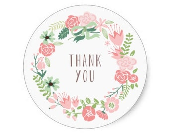 24 Thank you white, floral , flower, floral thank you stickers,wedding stickers,thank you card stickers,wedding favor,envelope seals