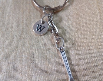 Fork Keychain with Initial, Fork Jewelry,  Silver Custom Jewelry, Charm Key chain