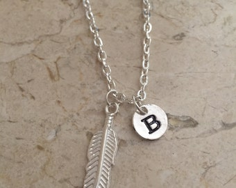 KIDS SIZE -Feather initial necklace, feather charm necklace, silver feather necklace, feather jewelry, bohemian necklace, southwestern