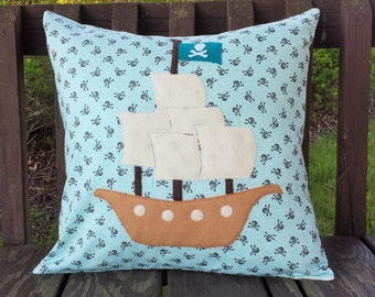 Pirate ship appliqued pillow cover