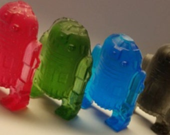 12 big RoBOT d2 (aprox 4inch) inspired soaps - birthday party - party favors - robot - droid - star