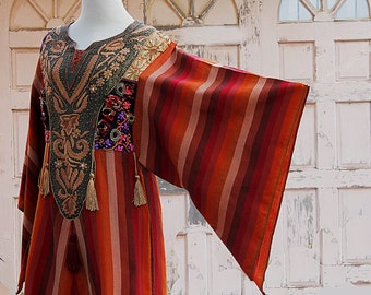 Vintage Galabya Orange, Brown and Gold, Embroidered Kaftan, Dress Maxi, Boho Hippie, Long Dress, Festival Dress, Embroidered Kaftan India