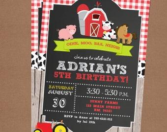 Farm Birthday Invitation, Farm Animals Party, Country Invitation, Farm Market Invitation,Digital Personalized Printable