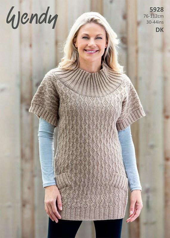 Ladies Tunic Knitting Patterns : Wendy Knitting Pattern DK 5928 Ladies Tunic