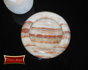 Rustic Marble Ashtray, Brown Banded Marble, Onyx Stone, Round Ashtray, Stone Ashtray, 5 inch Round, DM001