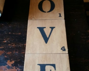 wood painted scrabble tiles