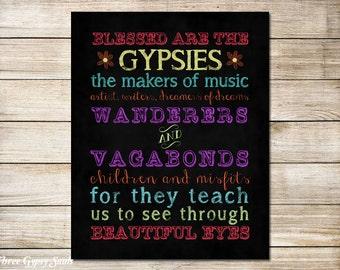 PRINTABLE ART Gypsy Decor Gypsy Wall Decor Gypsy Quote Bohemian Decor Boho Decor Hippie Decor