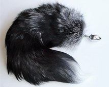 Tail Butt Plug, SILVERY SILVER, Fox Tail Butt Plug, MATURE, Available Detachable or Permanently Attached, Fetish Wear, Kitty Tail, Anal Plug