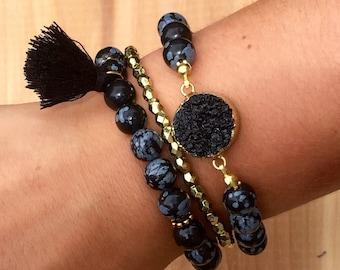 Obsidian Druzy and Tassle Bracelet Set