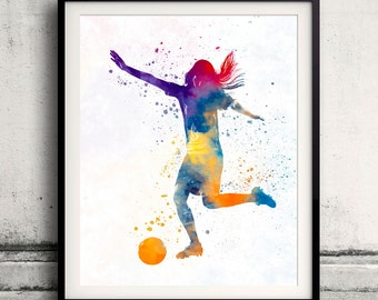 Woman soccer player 07 - Fine Art Print Glicee Poster Home Watercolor sports Gift Room Children's Illustration Wall - SKU 2295