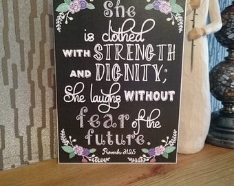 Proverbs 31:25  - Chalkboard Style Greeting Card - Bible Verse - She is Clothed with Strength and Dignity