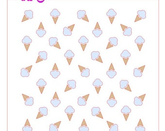 Ice Cream Cones Background Stencil