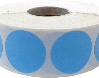 "1"" Inch Round Baby Blue Dot Stickers - 500 Adhesive Labels For Color Coding"
