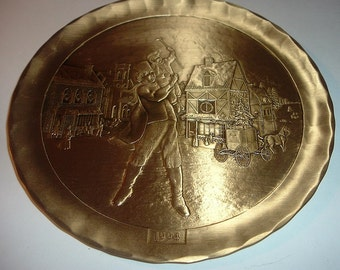 Wendell August Forge Solid Bronze The Christmas Carol Plate