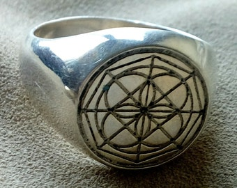 Univeral Symbol Kenpo Ring in Solid Silver