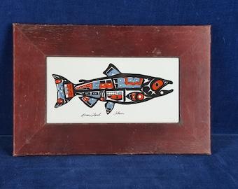 """Roxana Leask framed tile named """"Salmons"""""""