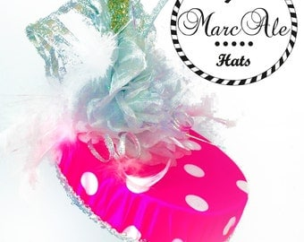 Pink and White Polka Dot Party Hat