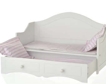 "Doll Trundle Bed with Pink and White Linens Fits 18"" American Girl Dolls"