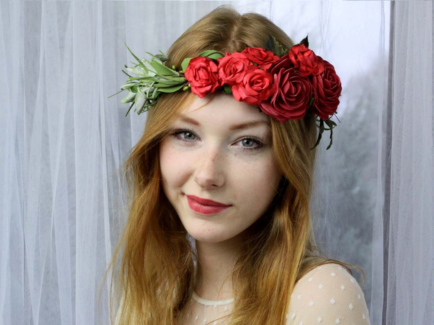 Red Flower Crown Floral Headband Flower Crown by LolaWhiteShop
