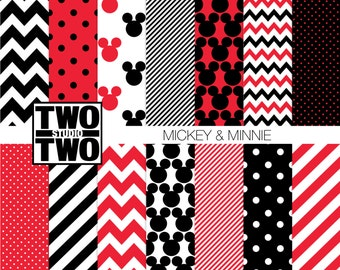 """Mickey Mouse Digital Paper: """"MICKEY AND MINNIE"""" Mickey Mouse Ears, Polka Dot, Chevron, & Striped Patterns in Disney Red, Black, White,"""