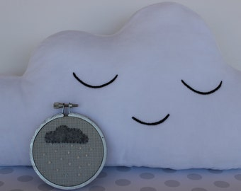 Adorable Little Gray Raincloud with Pretty Swarovski Beads, Modern Hand Embroidery Hoop Art. Perfect little gift!