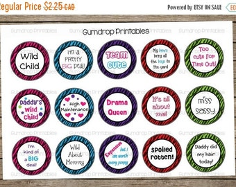 "30%OFF Cute Girly Sayings Zebra Print Bottle Cap Images Sheet ~ Instant Download ~ 1"" Circle ~ Hairbow Centers ~ Printable Image Sheet SY_29"