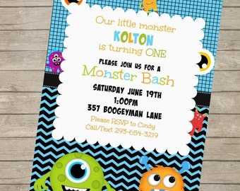 20%OFF Monster Bash Printable Birthday Party Invitation ~ Personalized with Your Party Details ~ Digital Print Yourself ~ Monster Birthday P