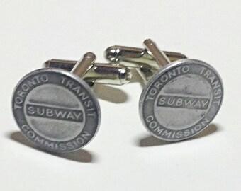Toronto vintage subway token cufflinks