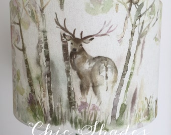 Enchanted Forest Back Stag Fabric Lampshade