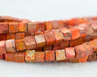 "15.5"" 6mm High quality orange Sea Sediment Imperial Jasper cube beads,  emperor jasper cube, semi precious stone, orange Aqua Terra Jasper"
