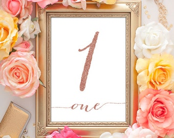 Rose Gold Table Numbers - 5x7 (1-20 Entire Set!), Wedding Table Numbers, Table Number Cards, Printable Wedding, Calligraphy