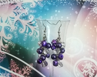 Purple cluster earrings, glass pearl earrings, purple bell cluster earrings, christmas earrings, lightweight earrings