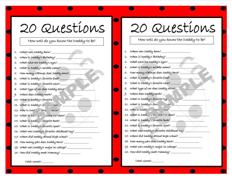 20 Questions Ladybug Printable Party Game Ladybug Baby