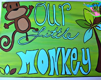 Our little monkey Wall Decor, Monkey Wall Decor, Our little monkey, Jungle wall decor, Jungle art, Jungle decor, Jungle painting, Jungle
