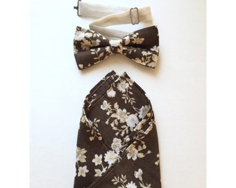 Free shipping! -Set of pocketsquare and bowtie brown floral print
