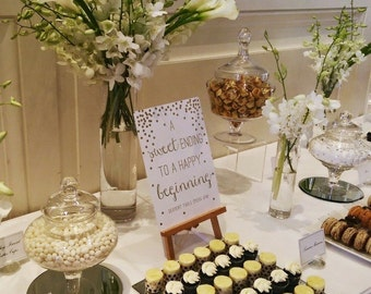 Gold foiled candy bar / dessert table signage in floral or polka dots (qty 1)