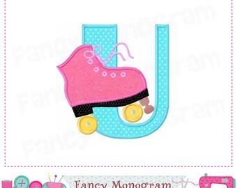 Roller Skate Letter U applique,Roller Skate,Monogram U,Alphabet,U,Sports Letter U applique,Roller Skate design,U,Font U,Roller Skate.