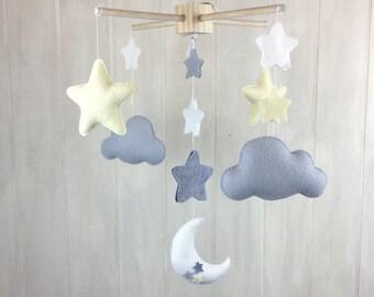 Baby mobile - star mobile - moon mobile - cloud mobile - moon and stars - grey mobile - home decor - sky mobile - nursery decor